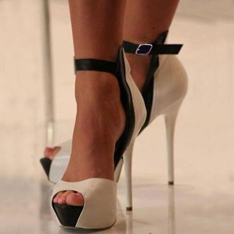 Ericdress Chic Nude Elegant Stiletto Heel Peep Toe Sandals