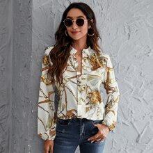 Bluse mit Kette Muster und eingekerbtem Kragen