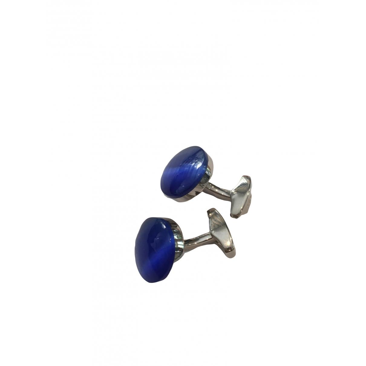 Tateossian - Boutons de manchette   pour homme en acier - bleu