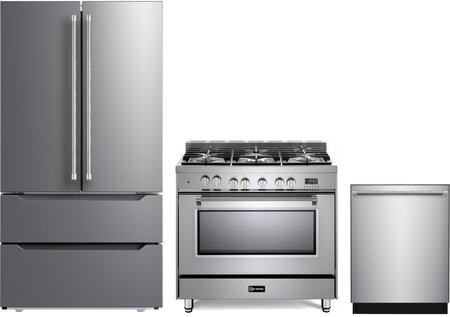 3 Piece Kitchen Appliances Package with VERF36CDSS 36