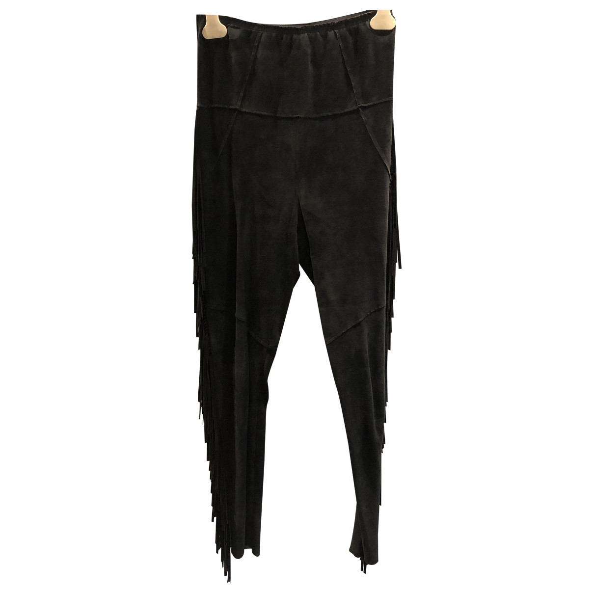 Isabel Marant \N Black Leather Trousers for Women 0 0-5