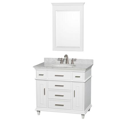 WCV171736SWHCMUNRM24 36 in. Single Bathroom Vanity in White with White Carrera Marble Top with White Undermount Oval Sink and 24 in.