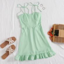 Bustier Cami Kleid mit Karo Muster, Band auf Schulter und Raffungsaum