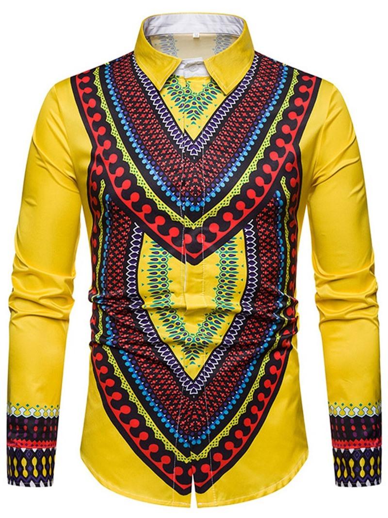 Ericdress Ethnic Lapel Geometric Single-Breasted Men's Slim Shirt
