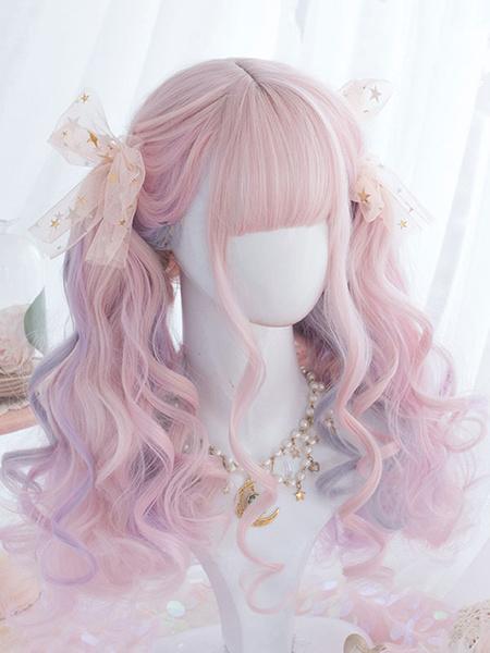 Milanoo Sweet Lolita Wigs Pink Ombre Pelucas de pelo largo y rizado de Lolita con Blunt Bang
