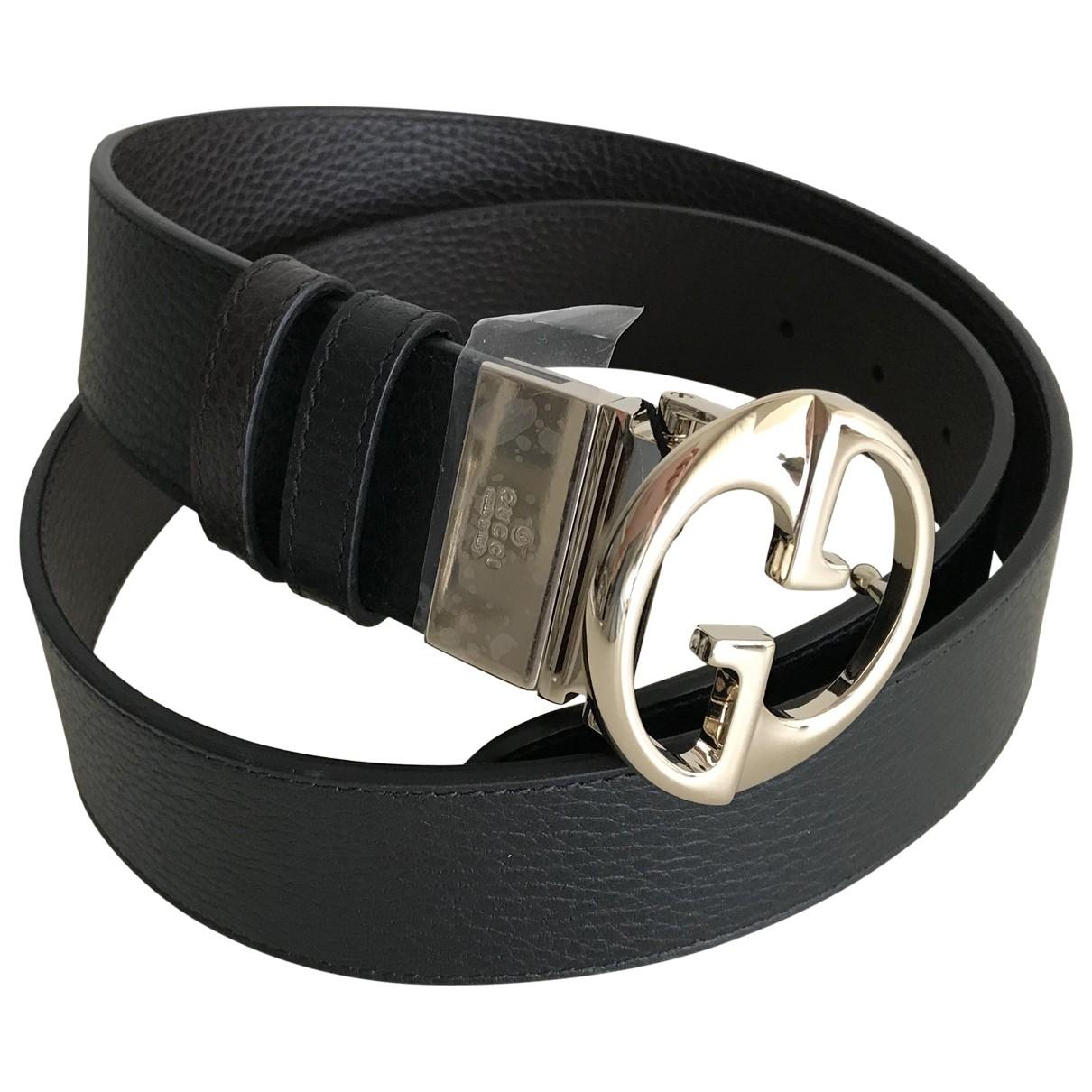 Gucci - Ceinture Interlocking Buckle pour femme en cuir - noir