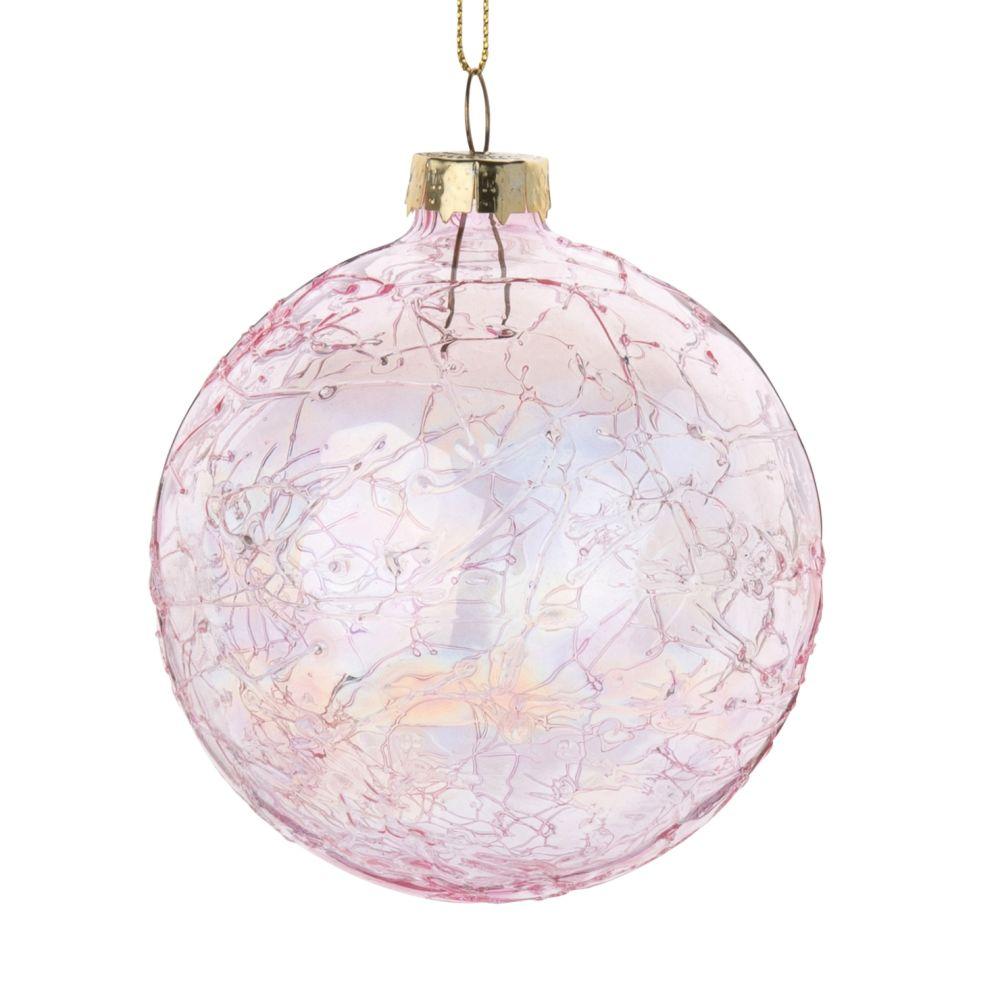 Weihnachtskugel aus rosa Glas in Crackle-Optik