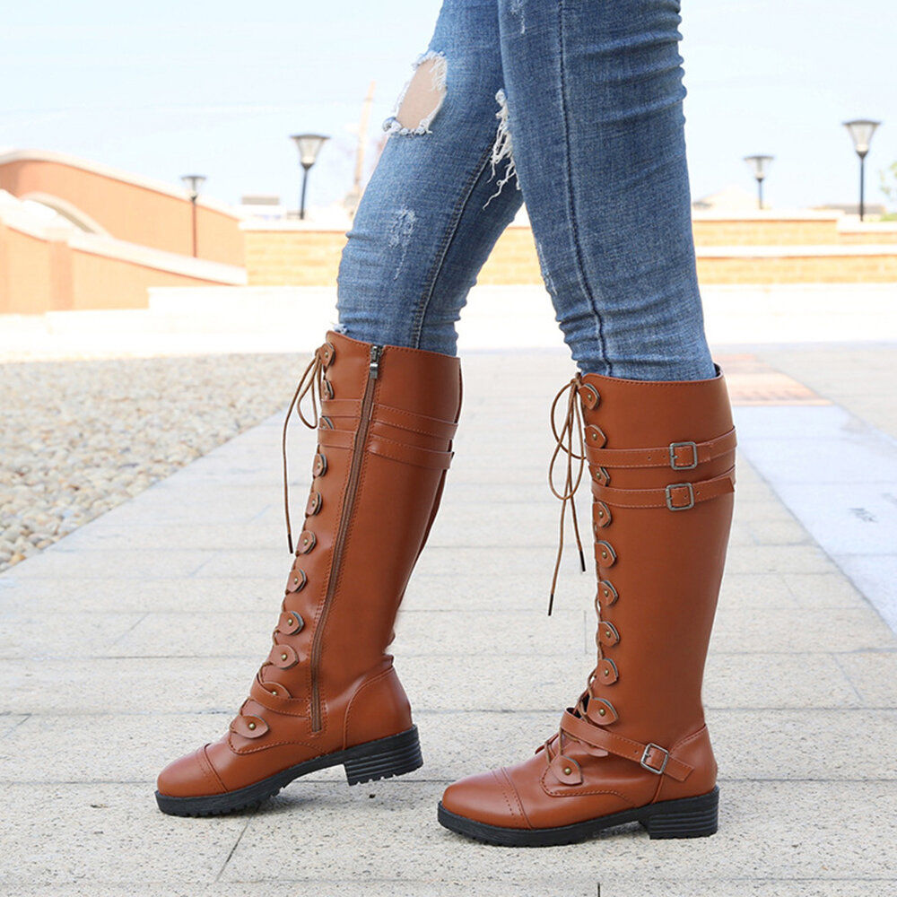 Large Size Women Retro Buckle Strap Round Toe Strappy Knee Length Boots