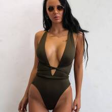 Lace Up Plunge Neck One Piece Swimsuit