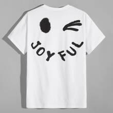 Camiseta con estampado de letra y dibujos animados