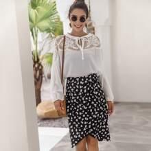 All Over Print Asymmetrical Hem Skirt