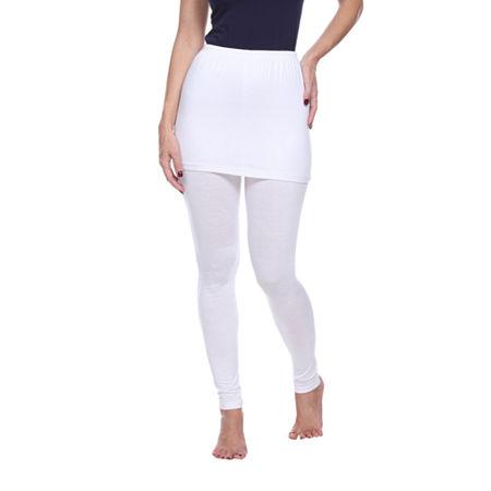 White Mark Skirted Womens Mid Rise Legging, Large , White
