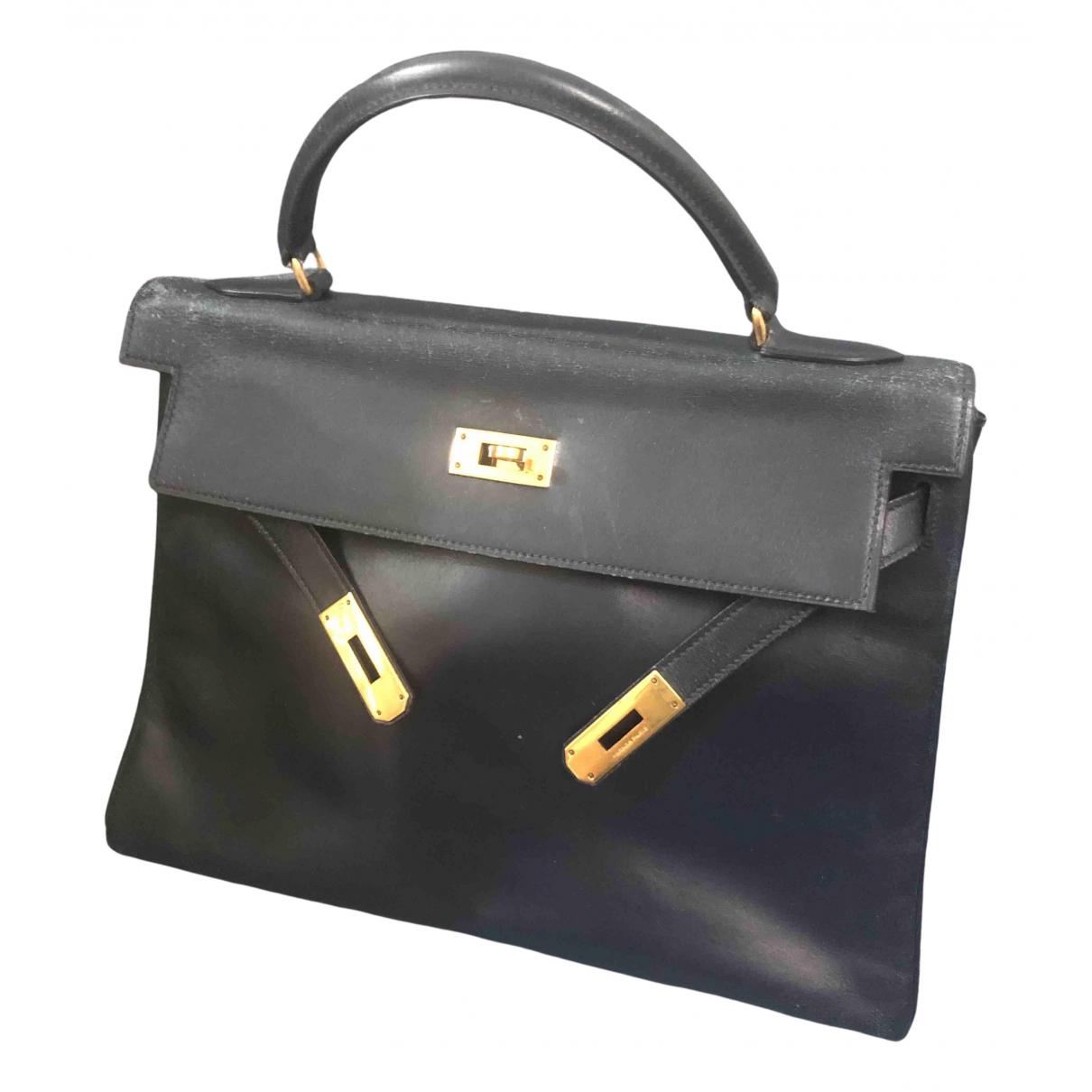 Hermès Kelly 32 Navy Leather handbag for Women \N