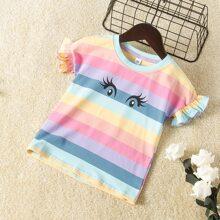 Toddler Girls Eyes Print Colorful Striped Tee
