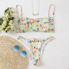 Floral Cami Cut-out Bikini Swimsuit