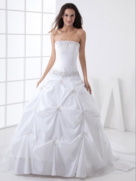 Milanoo Ball Gown Strapless Beading Taffeta Wedding Dress