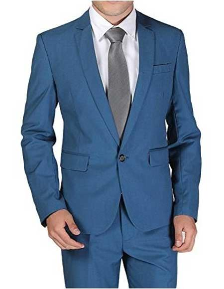 Mens 1Button Notch Single Breasted Teal Blue Slim Fit Wool Blend Suit