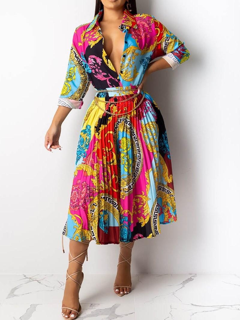 Ericdress Long Sleeve Mid-Calf Pleated Pleated Mid Waist Print Dress