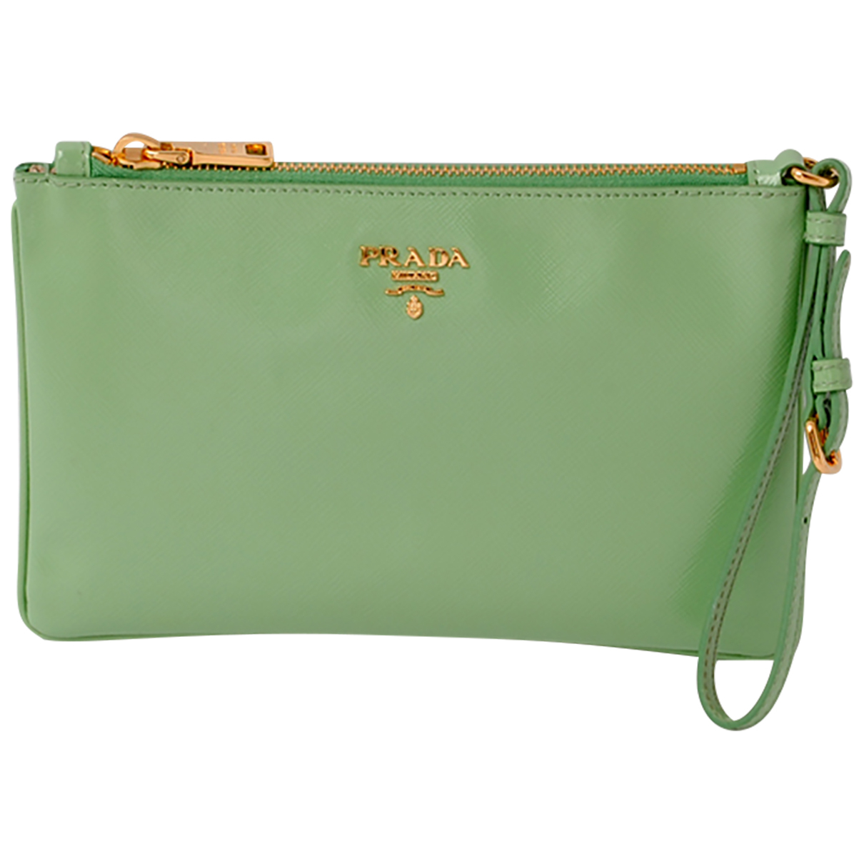 Prada \N Clutch in  Gruen Leder