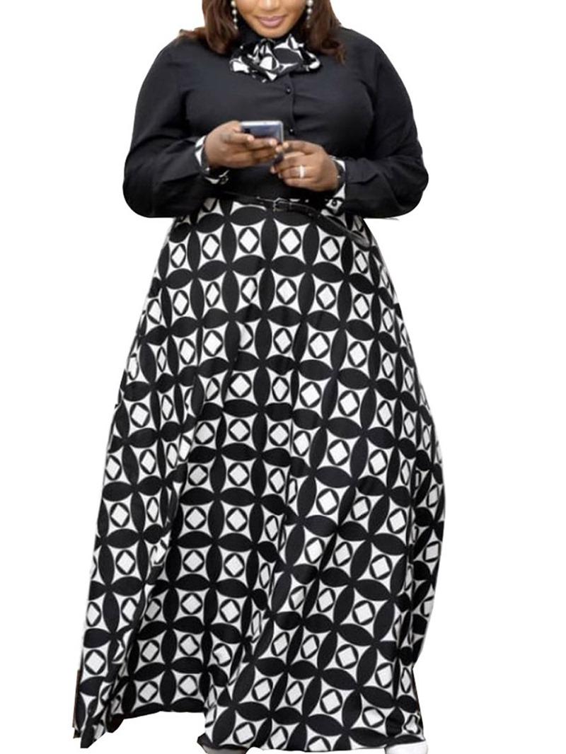 Ericdress Belt Lapel Long Sleeve Mid Waist Casual Dress