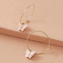 1pair Butterfly Charm Drop Earrings