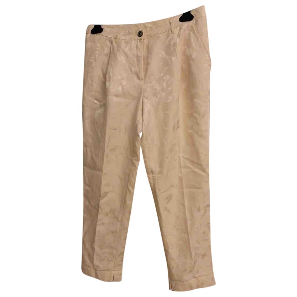 Pantalon en Viscosa Beige Attic And Barn