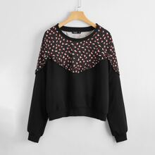 Plus Heart Print Frill Trim Sweatshirt