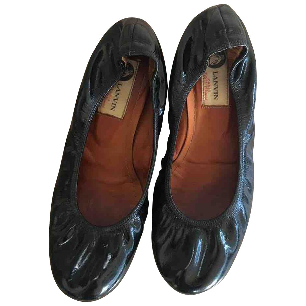 Lanvin - Ballerines   pour femme en cuir verni - noir