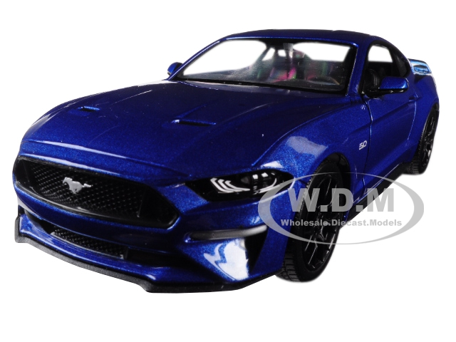 2018 Ford Mustang GT 5.0 Blue with Black Wheels 1/24 Diecast Model Car by Motormax