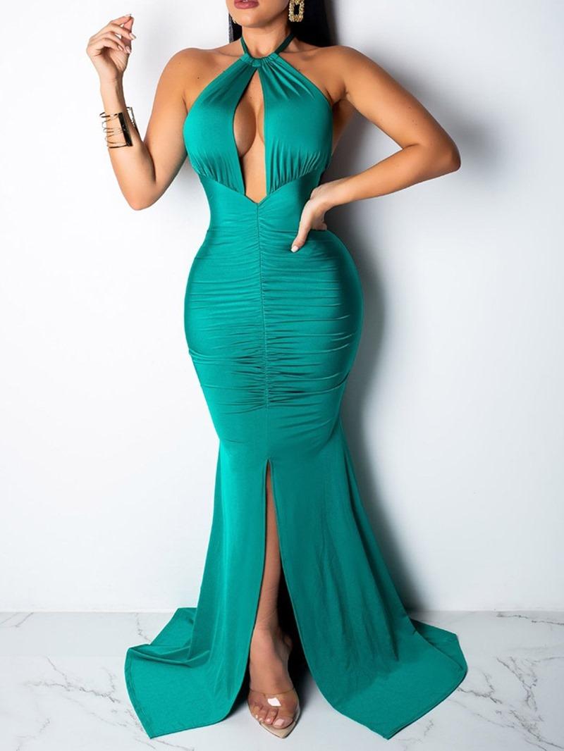 Ericdress Sleeveless Floor-Length Lace-Up Plain Mid Waist Dress