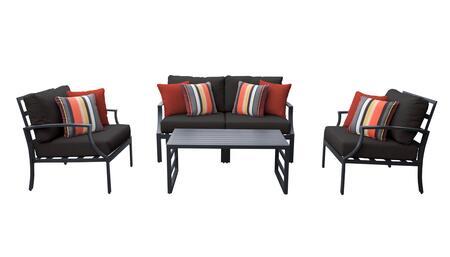Lexington LEXINGTON-05c-BLACK 5-Piece Aluminum Patio Set 05c with 1 Left Arm Chair  1 Right Arm Chair  2 Club Chairs and 1 Coffee Table - Ash and