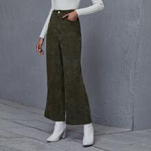 Corduroy High Waist Flare Leg Pants