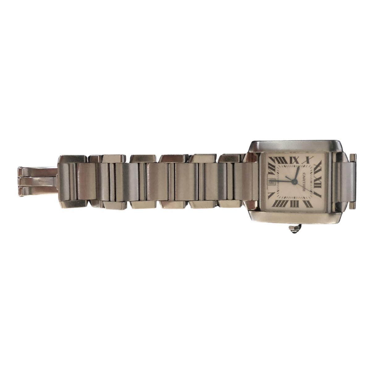 Cartier - Montre Tank Francaise pour homme en acier - argente