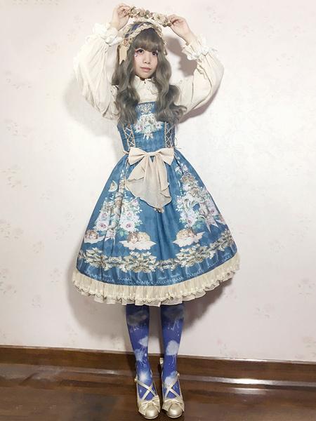 Milanoo Vestido de lolita de chifon con tirantes sin mangas con estampado con volante fruncido