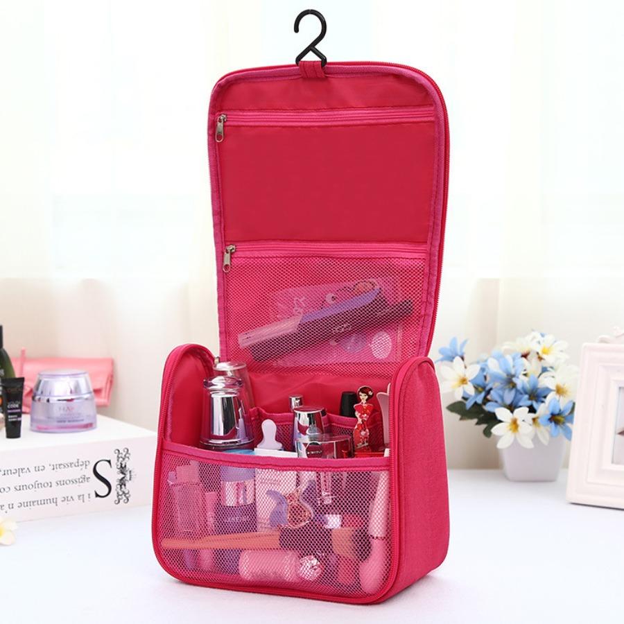 LW lovely Leisure Zipper Design Rose Red Makeup Bag