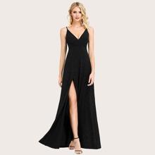Split Thigh Glitter Cami Dress