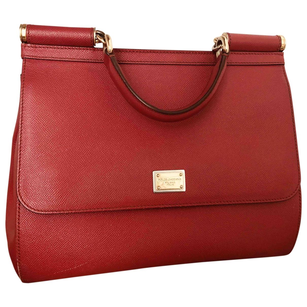 Dolce & Gabbana Sicily Handtasche in  Rot Leder