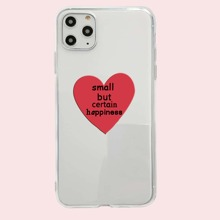 1pc Letter & Heart Print Clear iPhone Case