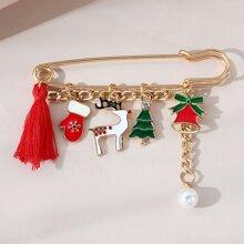 Christmas Tree & Glove Decor Brooch