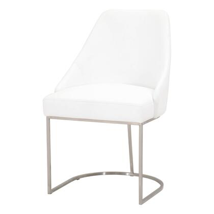 BM217381 Curved Dining Chair with Steel Cantilever Base  Set of 2  White and