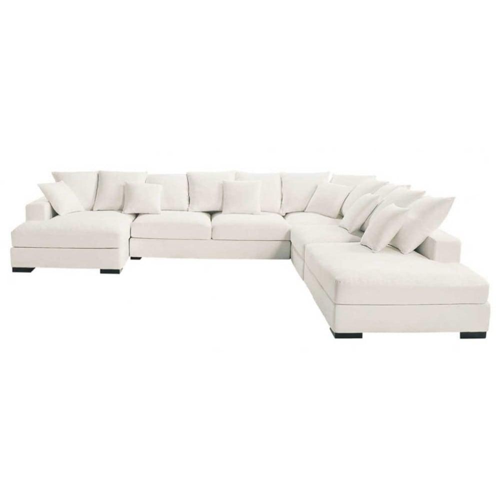 Modulare Ecksofa 7-Sitzer aus Baumwolle, elfenbein Loft