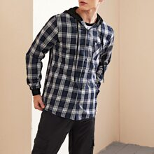 Men Tartan Plaid Pocket Front Hooded Overshirt