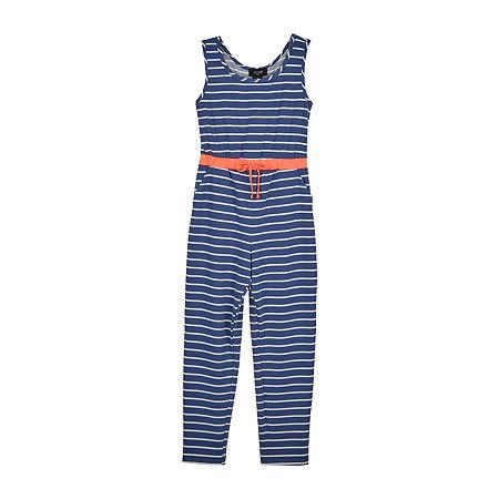 by&by girl Big Girls Sleeveless Jumpsuit, Medium , Blue