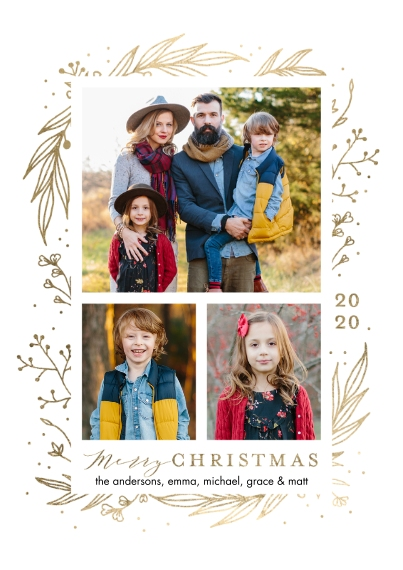 Christmas Photo Cards Flat Glossy Photo Paper Cards with Envelopes, 5x7, Card & Stationery -2020 Christmas Shining Foliage by Tumbalina