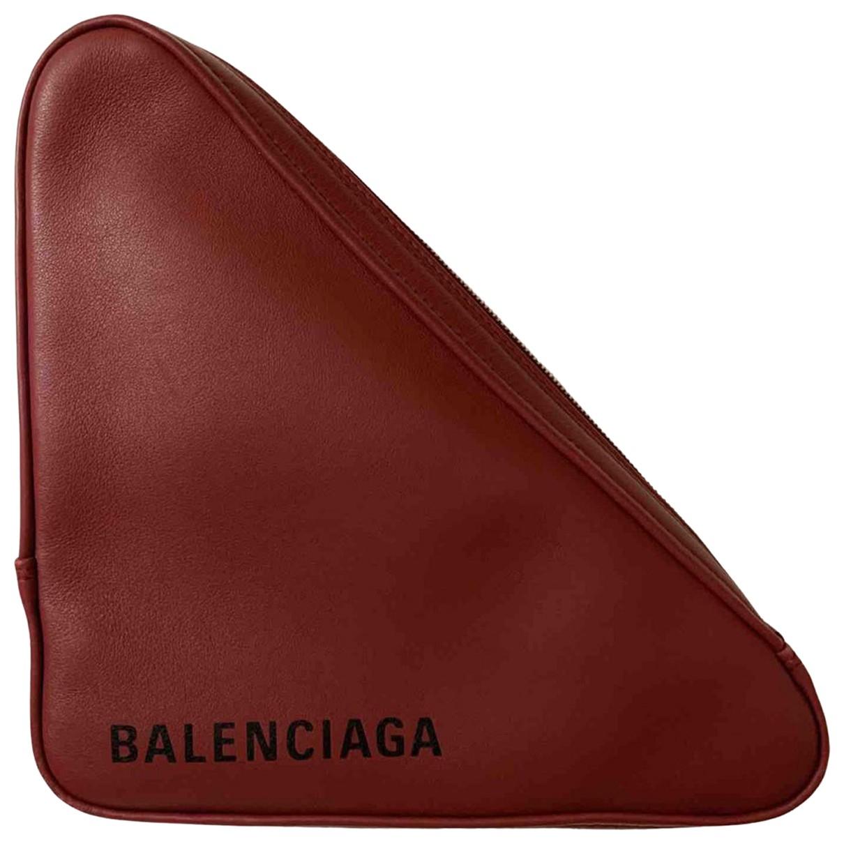 Balenciaga - Pochette Triangle pour femme en cuir - rouge