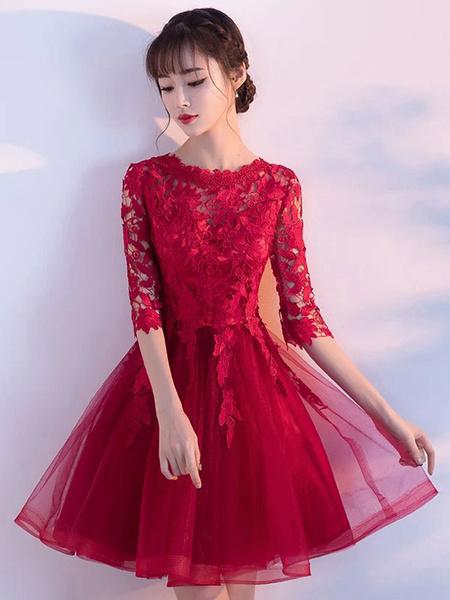 Milanoo Burgundy Homecoming Dress Lace Short Prom Dress Half Sleeve Princess Mini Cocktail Dress
