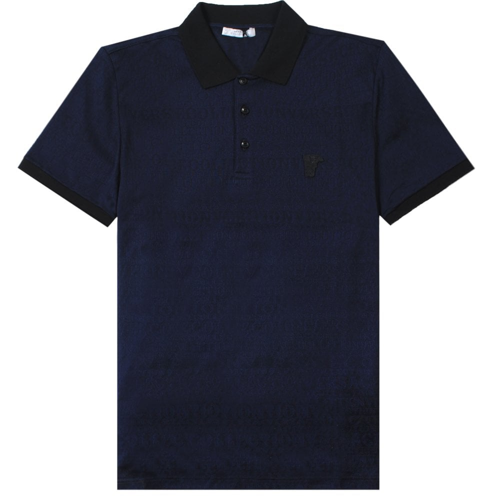 Versace Collection Scattered Logo Print Polo Shirt Colour: NAVY, Size: EXTRA LARGE