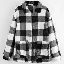 Drop Shoulder Buffalo Plaid Jacket