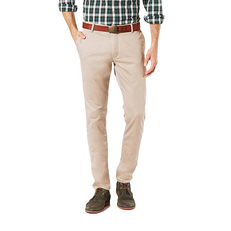 Dockers Washed Khaki Slim Tapered Fit Pants, 38 30, Beige