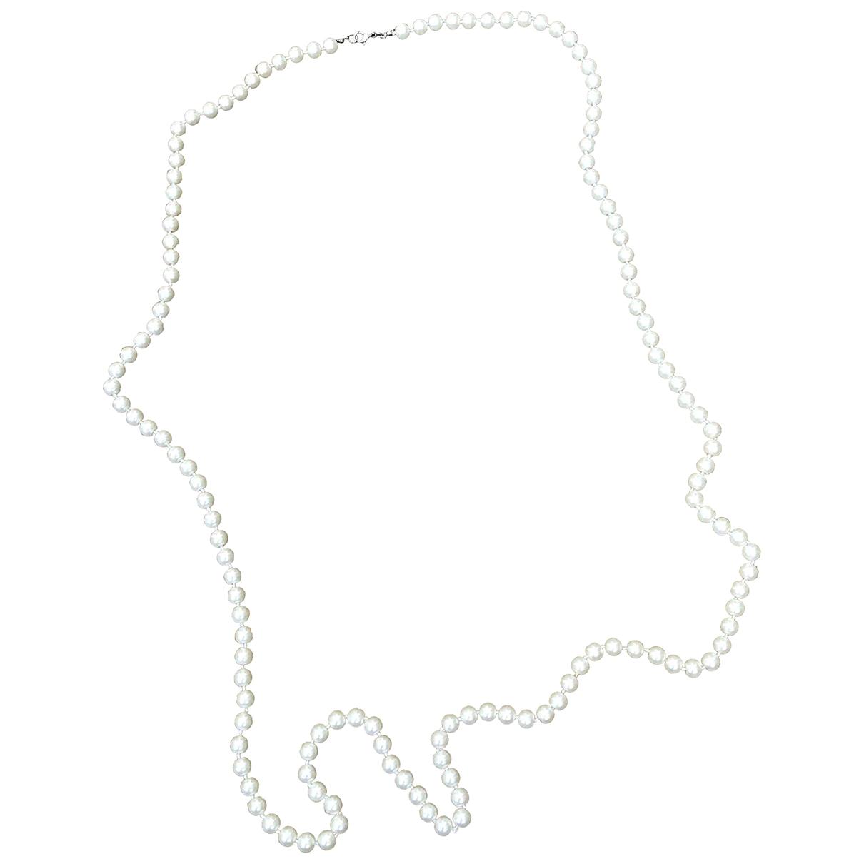 - Collier Art Deco pour femme en perles - blanc